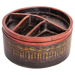 Vintage Bamboo Betel Box. Original Color, Cambodia, Early to Mid-20th Century