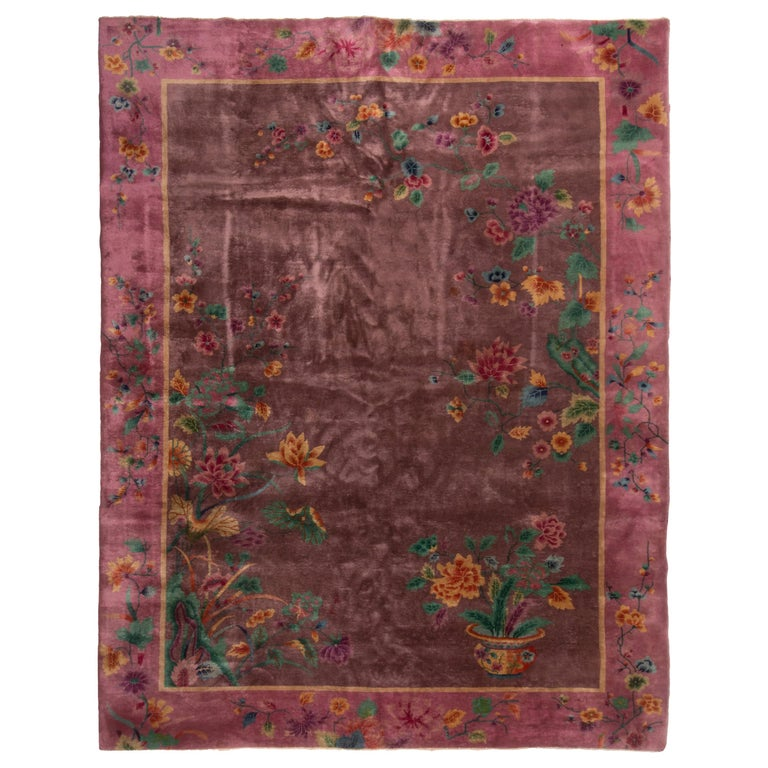 Antique Deco Chinese Purple Wool Silk Rug For Sale At 1stdibs