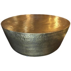 Round Hammered Brass Coffee Table