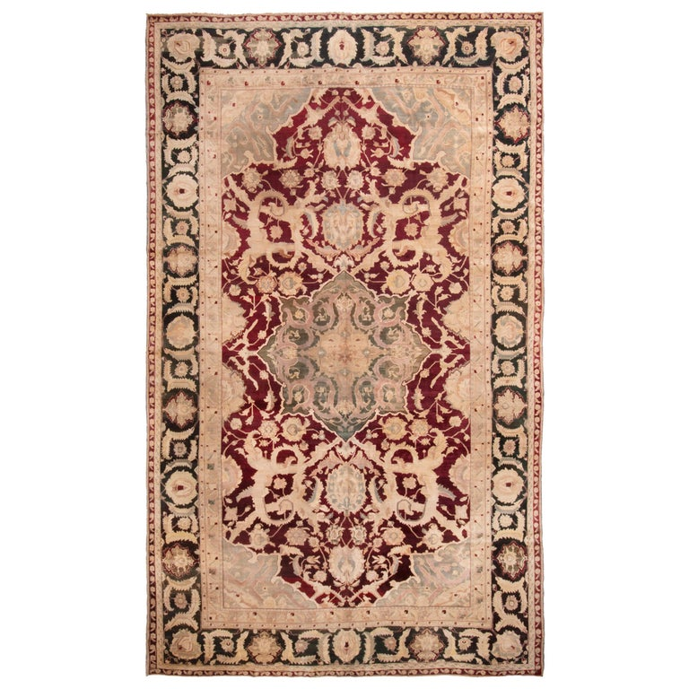 Deep Burgundy Indian Agra Rug For Sale At 1stdibs: Antique Agra Burgundy And Gold Wool Rug With All-Over