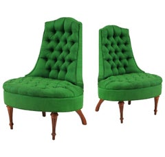 Green Silk Hollywood Regency Style Tufted Chairs