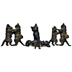 Antique Austrian Cast and Cold Painted Bronze Miniatures Cat Figurine Whimsy Lot