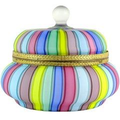 Fratelli Toso Murano Rainbow Ribbons Italian Art Glass Satin Vanity Jewelry Box