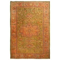 Antique Sultanabad Indian Red and Green Floral Rug