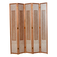 Mid-Century Five Panel Teak Folding Screen Room Divider
