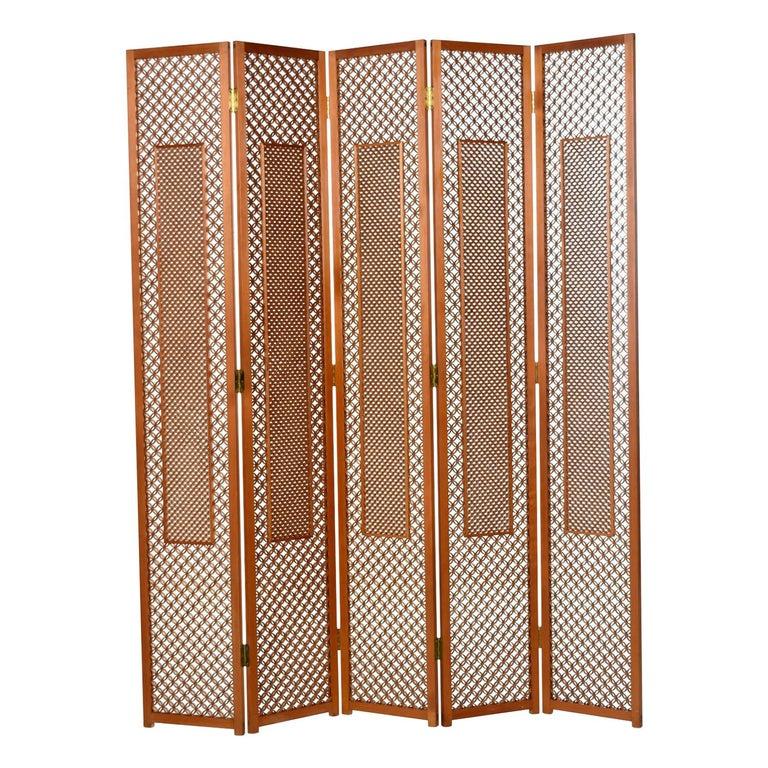 Mid-Century Five Panel Teak Folding Screen Room Divider For Sale