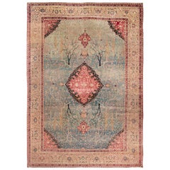 Antique Tabriz Red and Blue Medallion-Style Tree of Life Rug