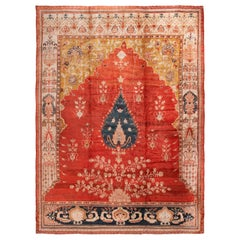 Antique Sultanabad Red and Gold Medallion Rug with Geometric-Floral Patterns
