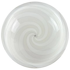 Fulvio Bianconi Venini Murano Bone White Optic Swirl Italian Art Glass Bowl