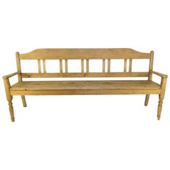 Antique Baltic Pine Country Style Rustic Bench, 1920's