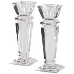 Set of Two Scandinavian Design Crystal Candleholders, Sweden, circa 1950