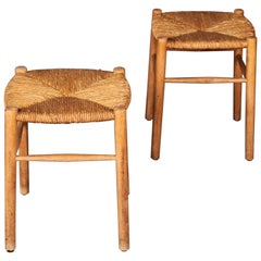Wood and Straw Pair of Stools