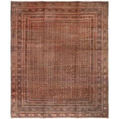 Antique Doroksh Khorasan Orange and Pink Wool Rug with Classic Fish Design