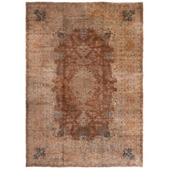 Antique Yazd Traditional Blue and Caramel Wool Rug with All-Over Floral Patterns