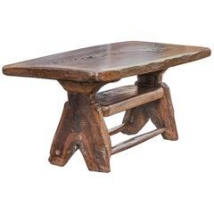 Brutalistic Handmade Coffee Table from Solid Oak, Swiss Alpine Furniture