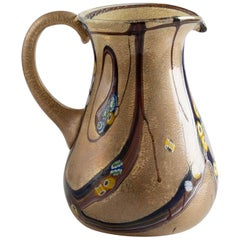 Murano Hand Blown Glass Colorful Pitcher, Italy, circa 1970