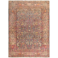 Antique Signature Kashan Pink and Blue Wool Rug with All-Over Floral Patterns