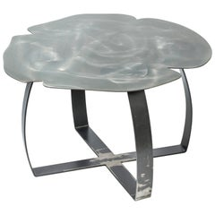 Small Table Andy Iron Medium, Flower Shape, Lacquered Iron, Italy