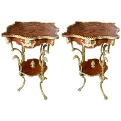 French Pair of Mahogany Inlaid Side Tables, Rich Bronze Decoration