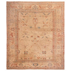 Sultanabad Pink Wool Rug with Geometric-Floral Patterns