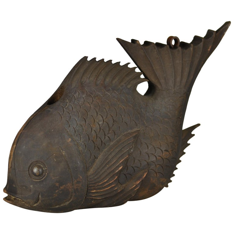 Edo Period Counterbalance for a Traditional Kettle Hook in Shape of a Sea Bream For Sale