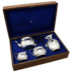 Antique Victorian Sterling Silver Four-Piece Tea and Coffee Service