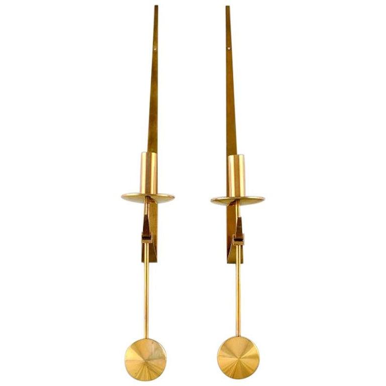 Pair of Skultuna, Sweden, Brass Candlesticks, Model 1607 For Sale