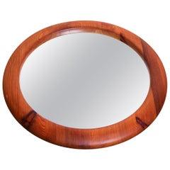 Midcentury Swedish Round Solid Pine Mirror, 1960s