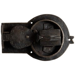 Primitive Handwrought Decorative Lock with It's Original Key, Italy, circa 1600