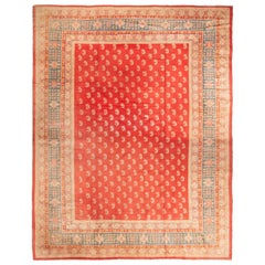 Antique Oushak Red and Beige Wool Rug with Paisleys