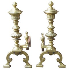 Large English Victorian Andirons or Firedogs