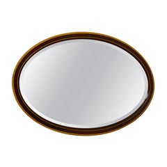 Antique Wall Mirror, English, Edwardian, Ovular, Walnut, Birch, circa 1910