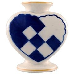 Aluminia Christmas Heart Vase in Blue Faience
