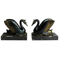 Art Deco Bookends Metal Cold Painted Swans on Marble Bases, French, circa 1930
