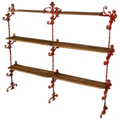 20th Century Red Iron and Wooden Shelves French Étagère, 1960