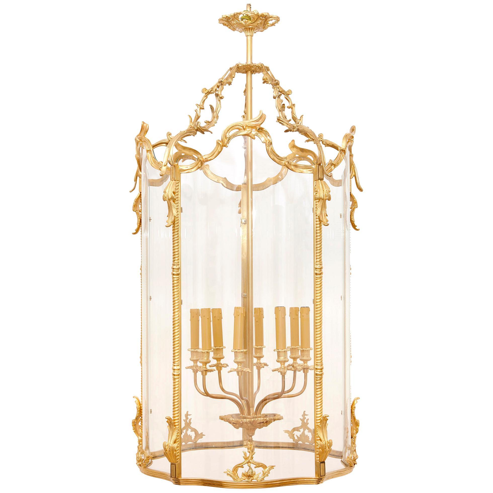 Large Glass and Gilt Bronze Hanging Hall Lantern