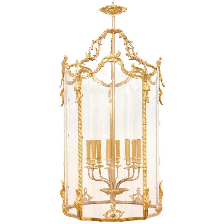 Large Glass and Gilt Bronze Hanging Hall Lantern For Sale