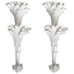 Pair of White Hand Carved Plaster Sconces in the Style of Dorothy Draper
