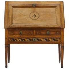 18th Century French Cherry Bureau with Ebonised Inlay