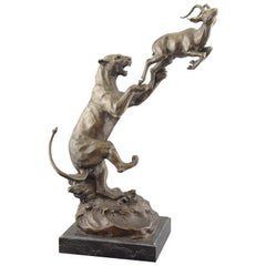 Lioness Hunting and Antelope. Bronze, Stone. After Models from Glen, Robert
