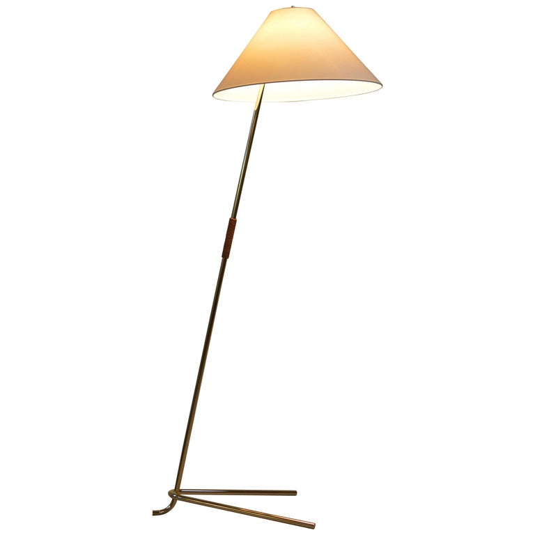 Brass and Leather 'Hase BL' Floor Lamp by Kalmar Werkstaetten For Sale