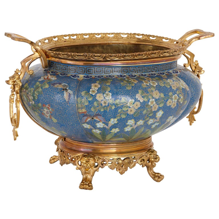 Antique Gilt Bronze Mounted Cloisonné Enamel Jardinière For Sale