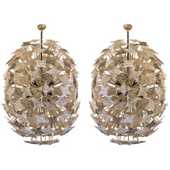 Pair of Sputnik Chandeliers with Murano Colored Glasses, L. Vuitton by Barovier