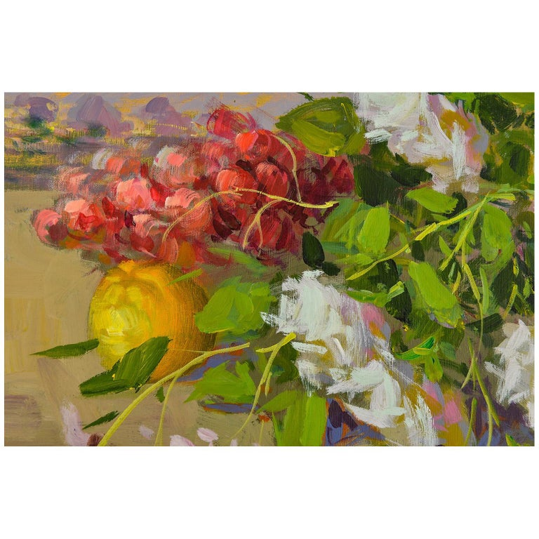 Flowers and Fruits Composition Italian Painting For Sale