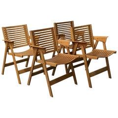 1952, Nico Kralj, Set of Wooden Folding Dining Chairs