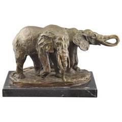 Two African Elephants. Bronze, Marble, after Models from Milo '1939-'