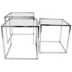 Italian Mid-Century Modern Set of Three Chromed Steel and Glass Nesting Tables