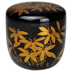 Gold Lacquer Tea Caddy with Bamboo Decor by Ippyosai VII '1942' 'Ippyo Eizo'