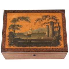 Sycamore Early Tunbridge Box Painted Ship, 19th Century