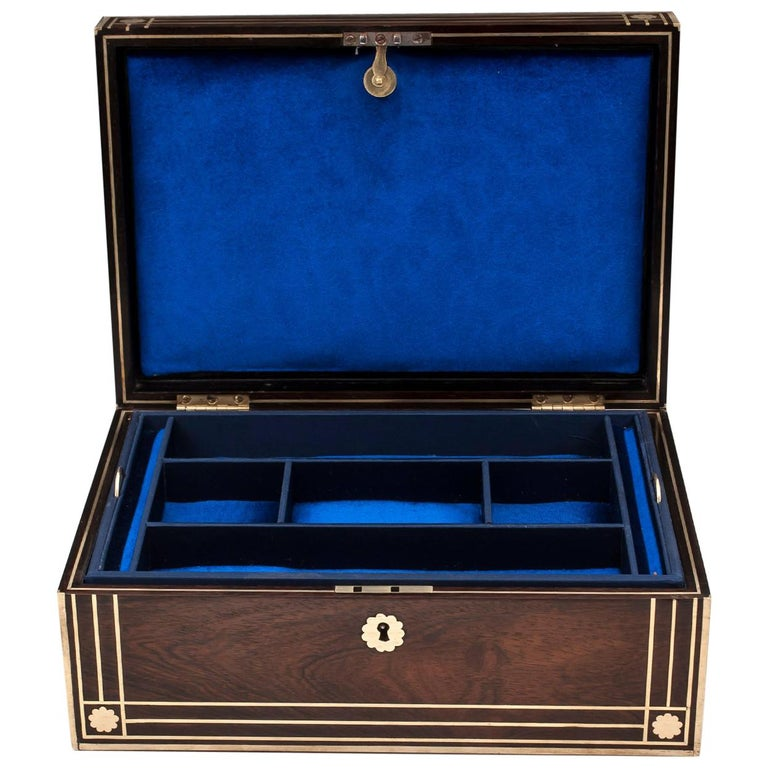 Antique Brass Bound Mahogany Jewelry Box, 19th Century For Sale